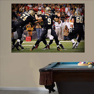 Drew Brees Passing Mural Fathead Wall Decal